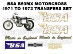 BSA B50MX Motorcross 1971 to 1972 Transfer Decal Set